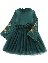 Girl's Casual/Daily Solid Dress,Polyester Winter Fall Long Sleeves Simple Green Red Blushing Pink