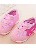 Недорогие -Девочки обувь Тюль Весна Осень Обувь для малышей Удобная обувь Кеды Для прогулок Шнуровка для Повседневные Черный Красный Синий Розовый