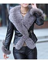 Недорогие -Жен. На каждый день Зима Осень Пальто с мехом Круглый вырез,Простой Однотонный Короткая Длинные рукава,Хлопок,Крупногабаритные
