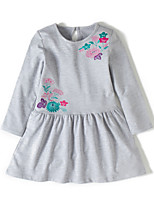 cheap -Girl's Daily Holiday Embroidery Dress,Cotton All Seasons Long Sleeves Cute Casual Gray