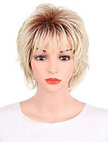 cheap -Women Synthetic Wig Short Straight Blonde Ombre Hair Pixie Cut Natural Wigs Costume Wig