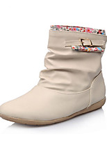Недорогие -Для женщин Обувь Полиуретан Зима Осень Удобная обувь Оригинальная обувь Зимние сапоги Ботинки Плоские Заостренный носок Ботинки Пух для