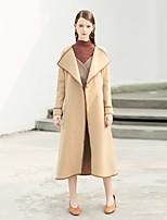 Недорогие -Для женщин На выход На каждый день Зима Осень Пальто Рубашечный воротник,Простой Винтаж Контрастных цветов Длинная Длинные рукава,