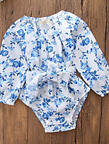 cheap -Baby Girls' Going out Casual/Daily Floral One-Pieces,Cotton Polyester Fall All Seasons Simple Vintage Cute Long Sleeve Blue