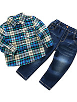 cheap -Boys' Daily Plaid Clothing Set,Cotton Polyester Spring Long Sleeve Blue
