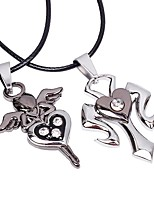 Couple's Pendant Necklaces Stainless Steel Leather Pendant Necklaces , Heart Fashion Going out Street