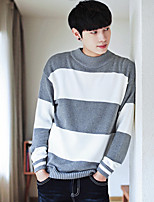 cheap -Men's Casual/Daily Vintage Regular Pullover,Striped Round Neck Long Sleeves Polyester Fall Thin Stretchy