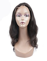 cheap -Remy Lace Wig Body Wave With Baby Hair Lace Front Natural Hairline 130% Density Natural Black Short Medium