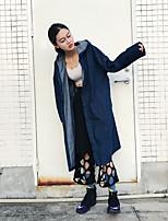 economico -Impermeabile Da donna Quotidiano Casual Autunno,Tinta unita Con cappuccio Cotone Lungo Maniche lunghe