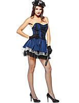 abordables -Policía Disfrace de Cosplay sombrero Mujer Halloween Carnaval Festival / Celebración Disfraces de Halloween Azul Piscina Bloques