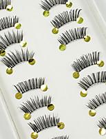 Недорогие -10 Ресницы Ресницы Half Strip Lashes Ресницы Натуральная длина Длиннее на конце Натуральный Ручная работа Волокно Transparent Band 0.07mm