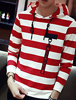 cheap -Men's Petite Going out Hoodie Striped Hooded Micro-elastic Polyester Long Sleeve Autumn/Fall