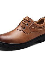 cheap -Men's Shoes Cowhide Winter Fall Comfort Oxfords for Casual Dark Brown Light Brown Black