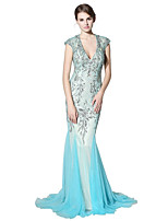 cheap -Mermaid / Trumpet V-neck Court Train Tulle Prom Formal Evening Dress with Beading Sequins by Sarahbridal