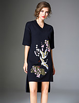 Women's Going out Casual/Daily Boho A Line Dress,Floral Print V Neck Midi 3/4 Sleeve Polyester Nylon Winter Spring Mid Rise Micro-elastic
