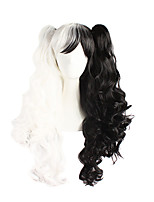 cheap -Women Synthetic Wig Long Wavy Black/White With Ponytail Lolita Wig Costume Wig