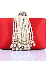 cheap -Women Bags Polyester Evening Bag Crystal Detailing Pearl Detailing Tassel for Wedding Event/Party All Season Blue Red Blushing Pink