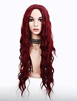 economico -Donna Parrucche sintetiche Lungo Riccio Rosso Parrucca riccia stile afro Riga al centro Parrucca naturale Lolita Parrucca Parrucca per
