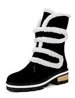 Недорогие -Для женщин Обувь Нубук Весна Осень Удобная обувь Оригинальная обувь Зимние сапоги Ботинки На низком каблуке Заостренный носок Ботинки Пух