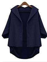 cheap -Women's Going out Street chic Winter Trench Coat,Solid Shawl Lapel ¾ Sleeve Regular Polyester Oversized