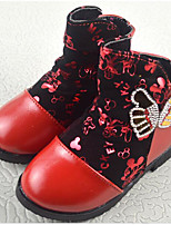 cheap -Girls' Shoes Leatherette Winter Fall Comfort Fashion Boots Boots for Casual Red Peach