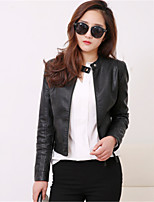 cheap -Women's Daily Street chic Fall Leather Jacket,Solid Stand Long Sleeve Regular Others