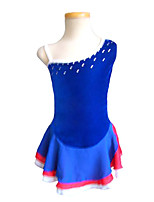 cheap -Figure Skating Dress Women's Girls' Ice Skating Dress Blue Spandex Inelastic Performance Practise Skating Wear Solid Sleeveless Ice