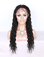 abordables -Mujer Pelucas de Cabello Natural Brasileño Cabello humano Encaje Frontal 130% Densidad Con mechones Marino Ondulado Peluca Negro Corto