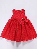 cheap -Girl's Casual/Daily Solid Dress,Polyester Winter Fall Sleeveless Simple Red