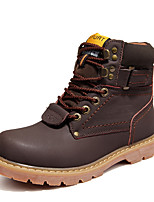 Men's Shoes Leather Winter Fall Fashion Boots Motorcycle Boots Combat Boots Boots Rivet for Casual Outdoor Dark Brown Light Brown Gold