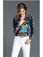 cheap -Women's Sports Casual Shirt,Print Shirt Collar Long Sleeve Silk