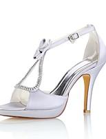 economico -Da donna Scarpe Raso elasticizzato Estate Decolleté scarpe da sposa A stiletto Punta aperta Cristalli Fiocco Fibbia per Formale Serata e