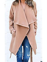 cheap -Women's Daily Vintage Fall Trench Coat,Solid Peter Pan Collar Long Sleeve Long Others