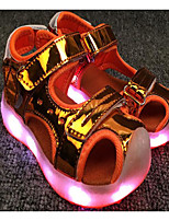 cheap -Girls' Shoes Patent Leather Winter Fall Comfort Sandals Walking Shoes Null Magic Tape For Casual Pink Orange Silver Gold