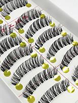 Недорогие -10 Ресницы Ресницы Ленточные накладные ресницы Ресницы Перекрещивающиеся реснички Натуральная длина Натуральный Ручная работа Волокно
