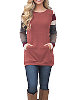 cheap -Women's Daily Holiday Casual Winter T-shirt,Striped Round Neck Long Sleeve Polyester Spandex Medium
