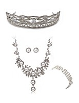 cheap -Women's Cuff Bracelet Bridal Jewelry Sets Rhinestone Fashion European Wedding Party Imitation Diamond Alloy Body Jewelry 1 Necklace 1