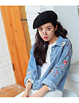 cheap -Women's Daily Vintage Winter Denim Jacket,Solid Round Neck Short Sleeve Regular Cotton Acrylic Pleated