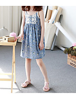 Girl's Casual/Daily Floral Dress,Polyester Spring Summer Sleeveless Simple Blue