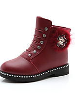 cheap -Girls' Shoes Leather PU Winter Fall Combat Boots Fluff Lining Boots Booties/Ankle Boots Mid-Calf Boots for Casual Dress Black Red Burgundy