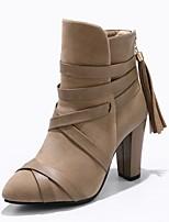 Недорогие -Для женщин Обувь Дерматин Зима Модная обувь Ботинки На толстом каблуке Заостренный носок Ботинки для Повседневные Для праздника Черный