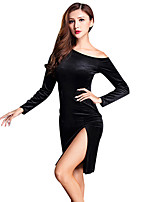 cheap -Shall We Latin Dance Dresses Women's Training Spandex Split Long Sleeve High Dresses
