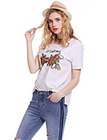 cheap -Women's Daily Holiday Active Street chic T-shirt,Floral Letter Round Neck Short Sleeve Cotton Medium