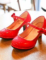 cheap -Girls' Shoes Leatherette Spring Fall Tiny Heels for Teens Heels Buckle for Casual Pink Red Black