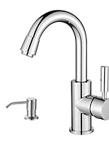 cheap -Contemporary Standard Spout Deck Mounted Rotatable with  Ceramic Valve Single Handle One Hole for  Nickel Brushed , Kitchen faucet