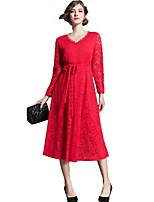 cheap -SHE IN SUN Women's Going out Work Casual A Line Swing Dress,Solid V Neck Maxi Long Sleeve Polyester Fall Mid Rise Inelastic Opaque