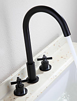 Traditional Widespread Widespread Ceramic Valve Two Handles Three Holes Oil-rubbed Bronze , Bathroom Sink Faucet