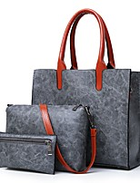 cheap -Women Bags PU Bag Set 3 Pcs Purse Set Zipper for Casual Office & Career All Season Brown Gray Red Black