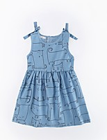 Girl's Casual/Daily Cat Dress,Cotton Winter Fall Sleeveless Simple Blue