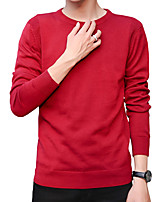 cheap -Men's Daily Work Casual Active Street chic Regular Pullover,Solid Print Round Neck Long Sleeves Polyester Spandex Japanese Cotton Winter